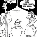 karikatur über bass-soli
