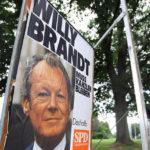 Brandt Wahlkampfplakat von 1972 in Leverkusen 2017.
